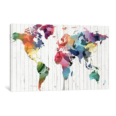 """""""Wood Watercolor World Map Gallery"""" by iCanvas, 40x26x0.75"""""""