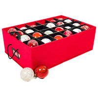 """Two Tray 4"""" Ornament Storage, Red"""