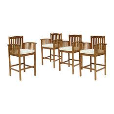 "GDF Studio Gill Outdoor 46"" Acacia Wood Bar Stools With Cushions, Set of 4"