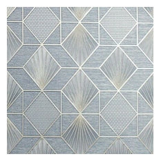 Wallpaper blue gold textured geometric diamond triangle 3D, Roll - 3.5 Ft X 33 F