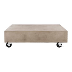 "Safavieh Gargon Modern Concrete 9.84"" H Coffee Table With Casters"