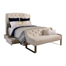 Peyton Upholstered Platform Storage Bed, Ivory, California King