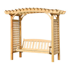 Pine 5'x9' Brandywine Arbor With 5' English Garden Swing, Unfinished