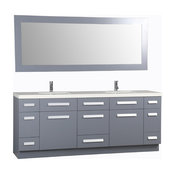 "Moscony 84"" Double Sink Vanity Set, Gray With White Sparkling Quartz Countertop"