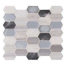 Harlow Picket Glass Metal Stone Mosaic, Sample