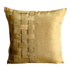 "Basket Weave 18""x18"" Art Silk Gold Decorative Pillow Cover, Gold Brown Bricks"