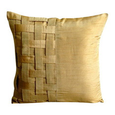 the homecentric basket weave 18x18 art silk gold decorative pillow cover - Gold Decorative Pillows