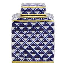 Juko Jar, Blue, White, Metallic Gold