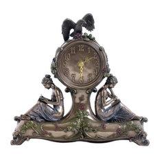 10.75 Inch Art Nouveau Table Clock Bronzehue Nymph Eagle Clover Motif