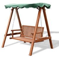 Modern Outdoor 2 Person Larch Wooden Swing Love seat
