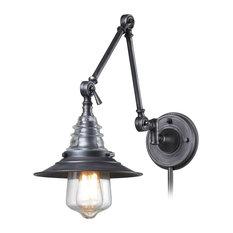 Elk Lighting - Insulator Glass 1 Light Swingarm Sconce In Weathered Zinc - Swing  Arm Wall