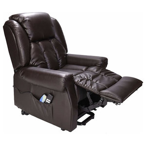 Recliner Chair in Leather Upholstery with Dual Motor Rise, Heat and Massage, Bro