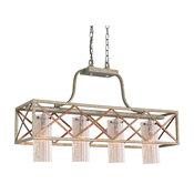 Braid 4-Light Island Light, Seedy Plated Amber Glass