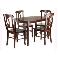 5-Pc Dining Table With Key Hole Back Chairs Set