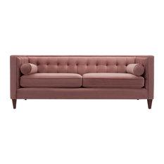 Jack 84-inch Modern Tuxedo Tufted Sofa Dusty Pink Velvet