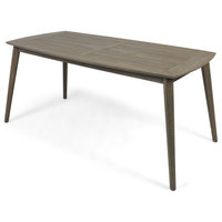 Fred Outdoor Acacia Wood Rectangular Dining Table, Gray