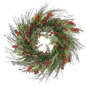 """24"""" Outdoor Red Berry And Hawthorn Wreath"""