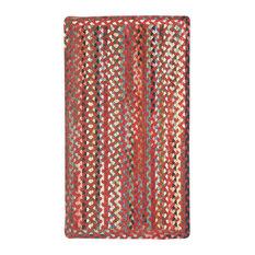 St. Johnsbury Vertical Stripe Braided Rectangle Rug, Medium Red, 3'x5'