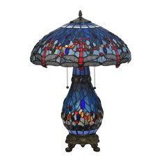 """25.5"""" Tiffany Hanginghead Dragonfly Lighted Base Table Lamp"""