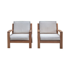 Maldives Teak Wood Outdoor Deep Seating Club Chair With Cushions Set Of 2