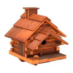 Conestoga Log Cabin Birdhouse, Medium, Natural Cedar
