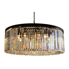Lightupmyhome D'Angelo 12-Light Round Clear Glass Fringe Crystal Chandelier, Cle