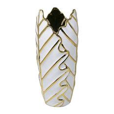 """Sagebrook Home White/Gold Ceramic Leaf Vase 15.75"""""""