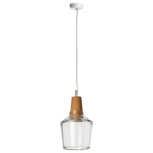 Industrial Glass and Oak Pendant Lamp, Small, Clear