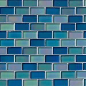 """12""""x12"""" Iridescent Blue Blend Glass Tile, Set of 10"""