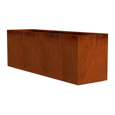 "Corten Steel Planter, Rectangle, 72""x20""x24"""