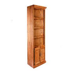 Traditional Oak Corner Bookcase Lower Doors
