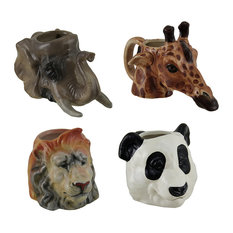Set of 4 Decorative Animal Head Molded Ceramic Mugs 14 Oz.