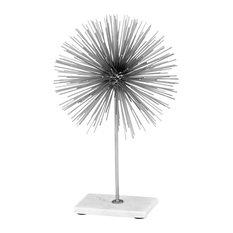 Erizo Spiked Sphere on Base, Silver & White, Large