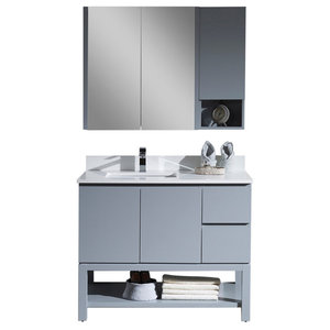 "Monaco 42"" Left Vanity Set With Medicine Cabinet and Wall Cabinet, Metal Gray"