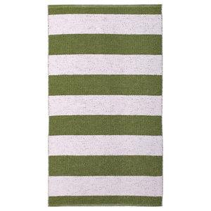 Chunky Stripe Woven Vinyl Floor Cloth, Green, 150x200 cm