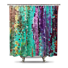 Shower Curtain HQ   Catherine Holcombe Morning Mosaic Fabric Shower Curtain,  Extra Long   Shower