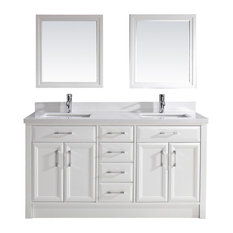 Calais 63'' Vanity Set, White and Solid Surface Marble