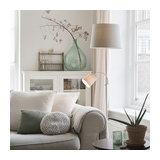 Classic Floor Lamp with Reading Arm Steel with Grey Shades - Retro