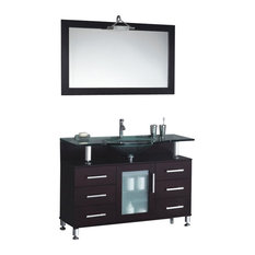 Modern Contemporary Bathroom Vanity w/ Clear Glass Sink, Espresso, 42""