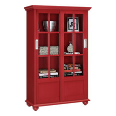 Ashton Oaks Bookcase With Sliding Glass Doors, Red