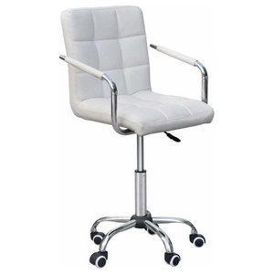Swivel Chair Upholstered, White Faux Leather With Armrest