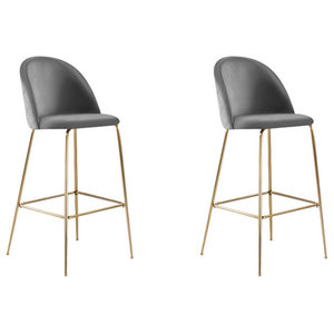 Millennial Brass Velvet Upholstered Dining Bar Stool, Soft Grey, Set of 2