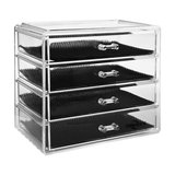 Modern Cube Organiser Box in Acrylic With 4-Drawer to Provide Storage Space