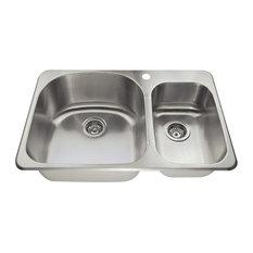 Topmount Offset Stainless Steel Kitchen Sink, Sink Only