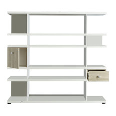 Line Bookcase With Drawer and Cupboard, White and Oak