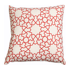 Astrid Trellis Hand Printed Red Pillow