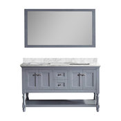 "Julianna 60"" Double Vanity, Gray, White Marble, Without Faucet, Square"