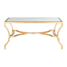 Safavieh Alphonse Coffee Table, Gold, Tempered Glass Top