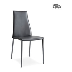 Aida Leather Dining Chair, Calligaris, Set of 2, Black