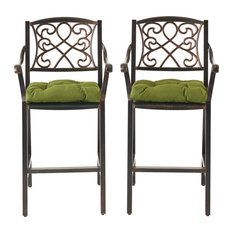 Megan Outdoor Barstool With Cushion, Set of 2, Shiny Copper/Olive